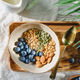 Top view of a morning granola with almond, blueberry, pepitas and chia seeds - PhotoDune Item for Sale