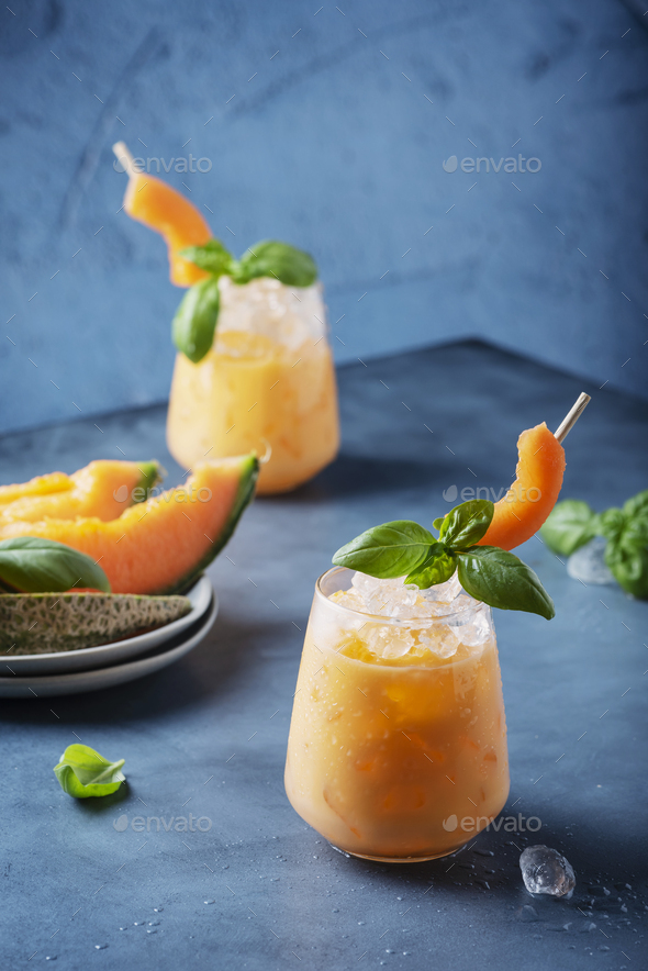 Sweet summer liquor with melon - Stock Photo - Images