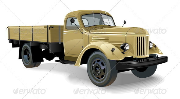 Retro Flatbed Lorry - Man-made Objects Objects
