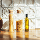 Glass jars with dry pasta in the kitchen, beautiful morning hard light, zero waste concept - PhotoDune Item for Sale