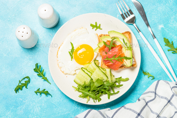 Healthy breakfast with egg, toast and salad - Stock Photo - Images