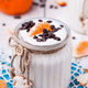 Homemade yogurt in a jar with tangerines and chocolate - PhotoDune Item for Sale