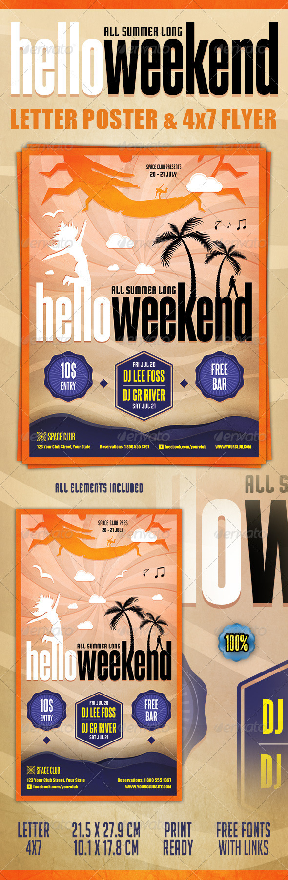 Hello Weekend Poster & Flyer - Clubs & Parties Events