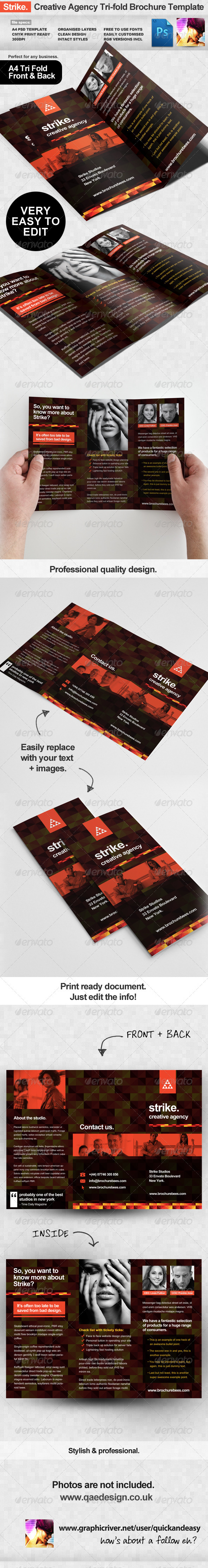 Strike Creative Agency Tri-fold Brochure Template - Portfolio Brochures