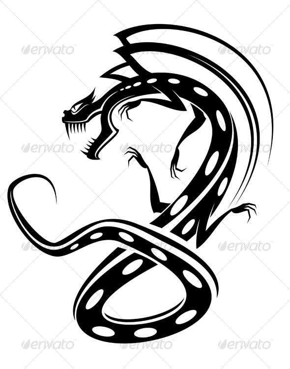 Isolated tattoo of black dragon - Tattoos Vectors