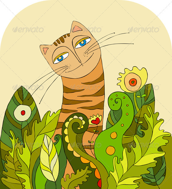 Cat Head Grass - Animals Characters