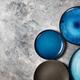 Empty Blue Plates on Grey Background - PhotoDune Item for Sale