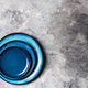 Empty Blue Plates on Grey Background - PhotoDune Item for Sale