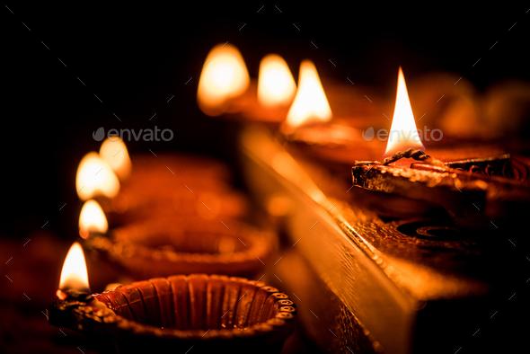 Diwali Diya with Gifts - Stock Photo - Images