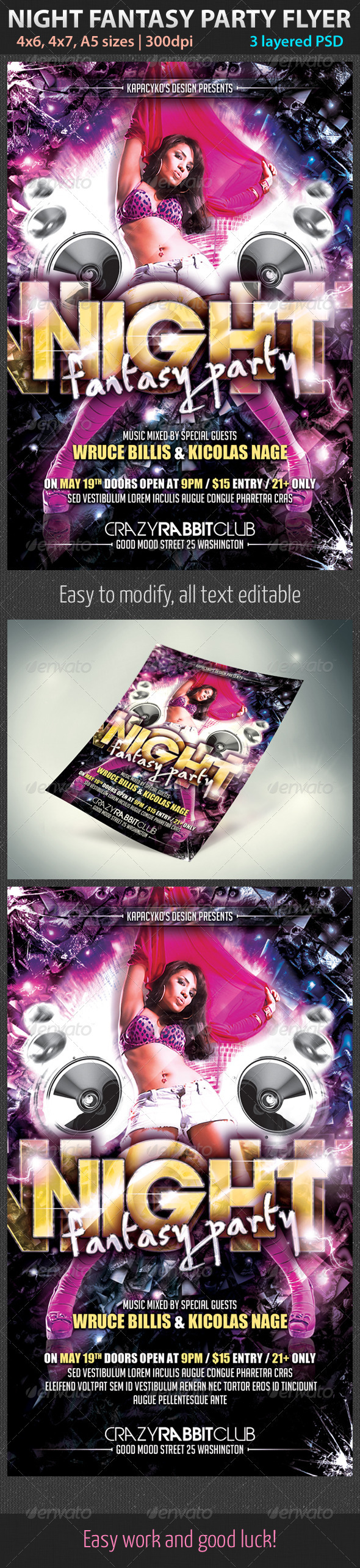 Night Fantasy Party Flyer - Clubs & Parties Events