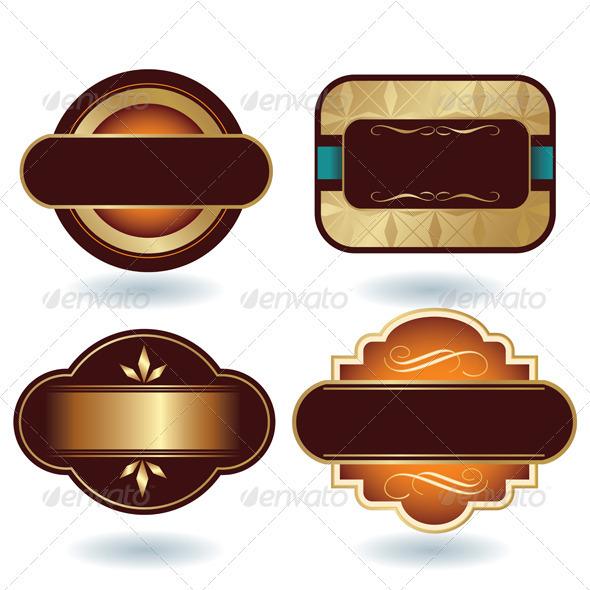 Brown Gold Labels Template - Decorative Vectors