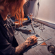 Talanted designer is working at glass workshop - PhotoDune Item for Sale