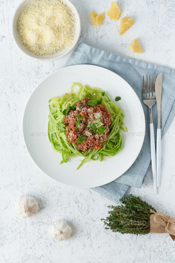 Keto pasta Bolognese with mincemeat and zucchini noodles, fodmap, lchf, low carb. Vertical - Stock Photo - Images