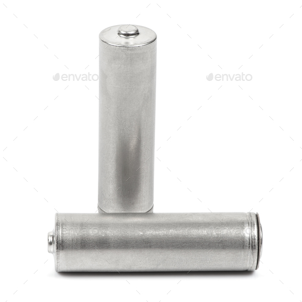 Two AA size batteries on white background - Stock Photo - Images