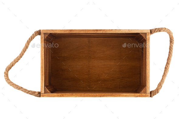 empty wooden box with rope handles on white - Stock Photo - Images
