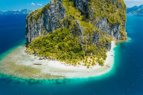 El Nido, Palawan, Philippines. Aerial drone view of impressive Pinagbuyutan Island. Amazing white - Stock Photo - Images