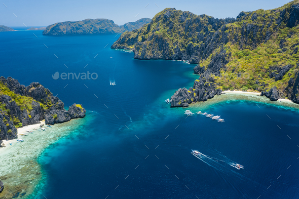 Aerial drone view of strait between Miniloc and Shimizu tropical islands. El Nido, Palawan - Stock Photo - Images
