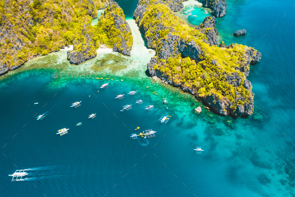 Palawan, Philippines aerial view of entrance to big lagoon. Natural scenery of tropical Miniloc - Stock Photo - Images