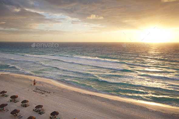 Sunrise on a tropical beach in Cancun Mexico - Stock Photo - Images