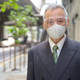 Mature Japanese businessman with mask and face shield in the city - PhotoDune Item for Sale