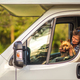 Woman Traveling With Her Dog Inside Camper Van - PhotoDune Item for Sale