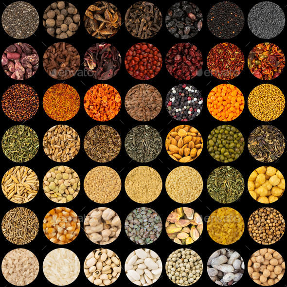 Collection of aromatic spices and condiments collage background circles - Stock Photo - Images