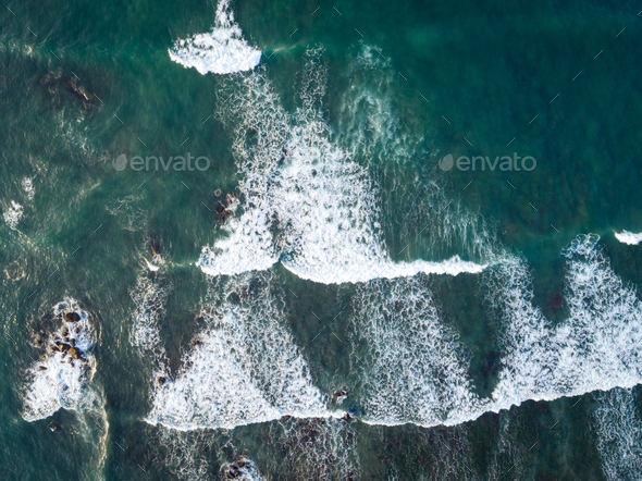 Aerial view of sea waves in the seaside - Stock Photo - Images