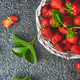 Strawberries in white basket. Fresh strawberries. Beautiful strawberries. - PhotoDune Item for Sale
