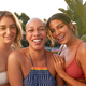 Portrait Of Three Female Friends Outdoors Relaxing In Swimming Pool And Enjoying Summer Party - PhotoDune Item for Sale