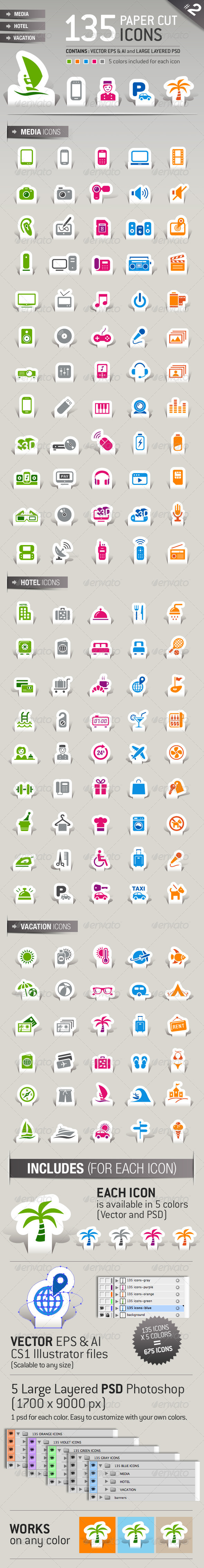 135 Papercut Icons - Icons