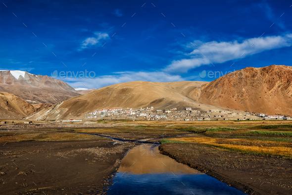 Lake Tso Moriri in Himalayas, Ladakh, India - Stock Photo - Images