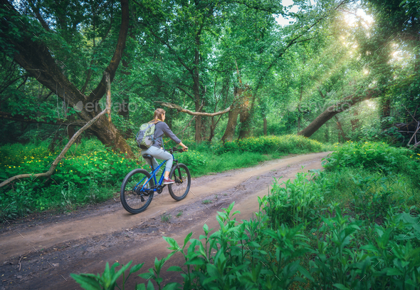 Woman riding a bicycle in forest in spring at sunset - Stock Photo - Images