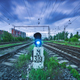 Railway station with traffic light and blurred sky with clouds - PhotoDune Item for Sale