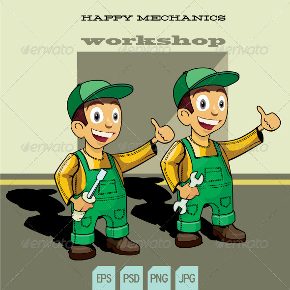 Happy Mechanics - Characters Vectors