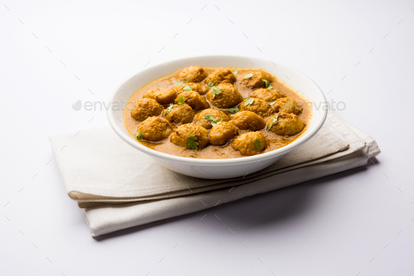 Masala Soya Chunk Curry - Stock Photo - Images