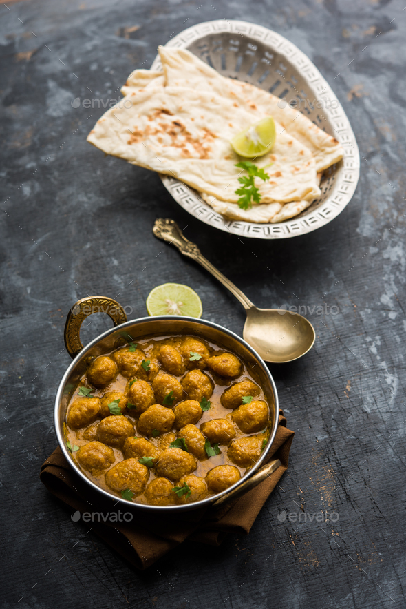 Masala Soya Chunk Curry - Stock Photo - Images