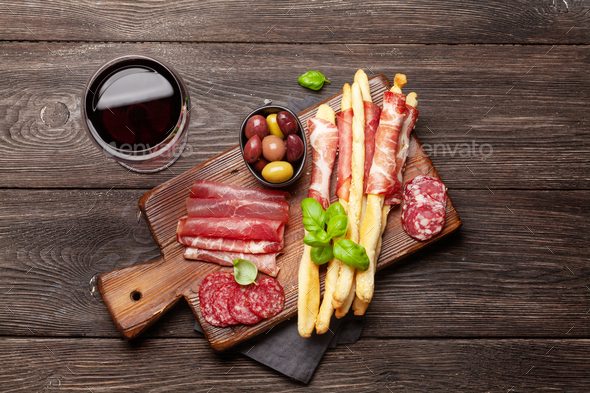 Meat and olives antipasto - Stock Photo - Images