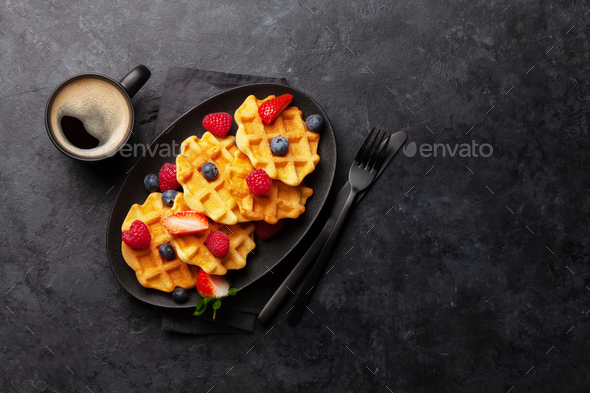 Delicious belgian waffles with summer berries - Stock Photo - Images