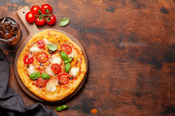 Tasty homemade pizza with cola drink - Stock Photo - Images