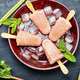 Ice cream on stick with rhubarb and mint. - PhotoDune Item for Sale