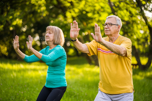 Practicing Tai Chi - Stock Photo - Images