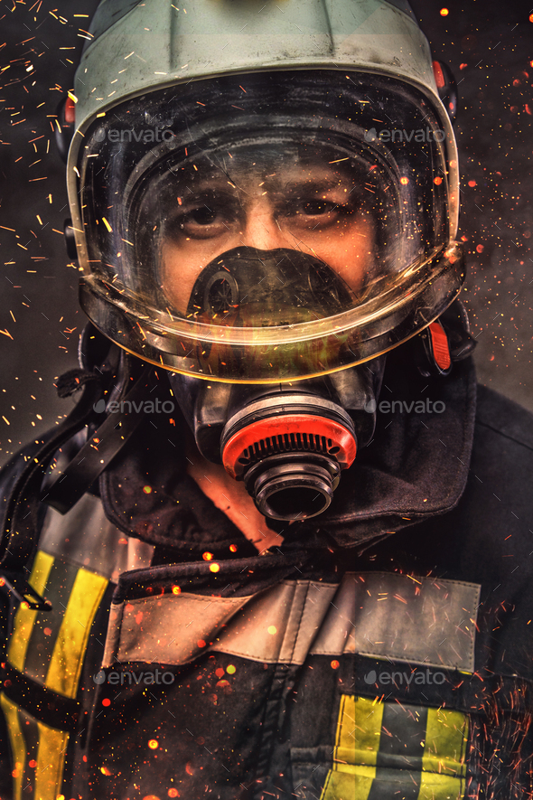 Portrait of firefighter . Concept art - Stock Photo - Images