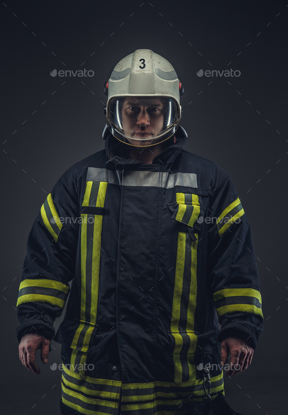 Picture of firefighter in uniform. - Stock Photo - Images