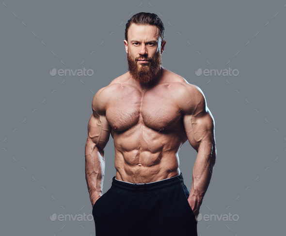 Portrait of bearded shirtless bodybuilder. - Stock Photo - Images