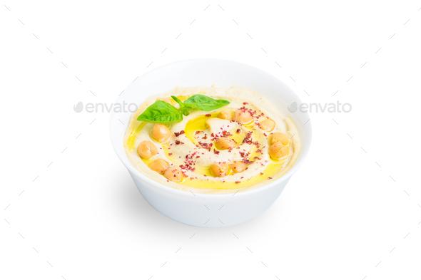 Isolated hummus bowl - Stock Photo - Images