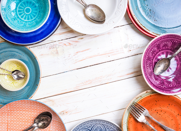 Different empty plates background - Stock Photo - Images