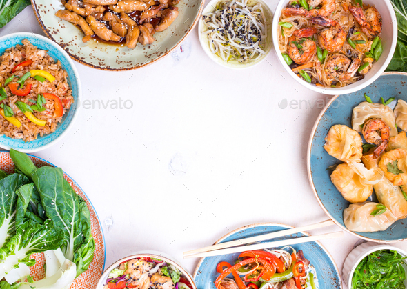 Chinese food white background - Stock Photo - Images