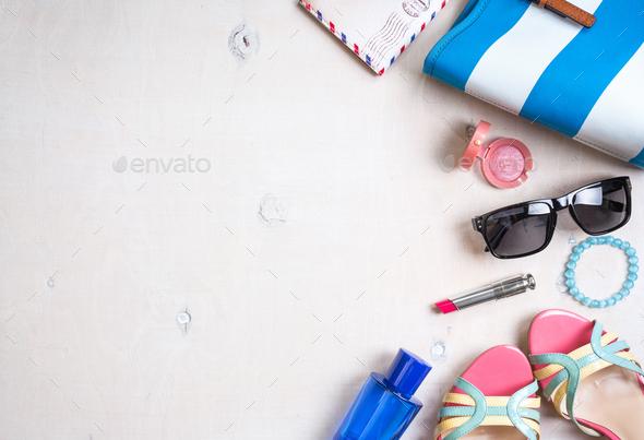 Feminine summer background - Stock Photo - Images