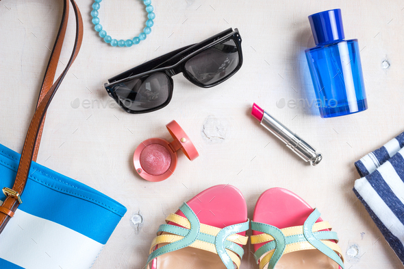 Feminine summer set of accesories - Stock Photo - Images
