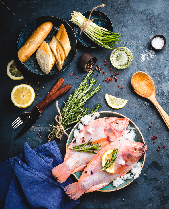Raw fish and ingredients - Stock Photo - Images